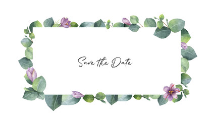 Watercolor vector banner with green eucalyptus leaves, purple flowers and branches.