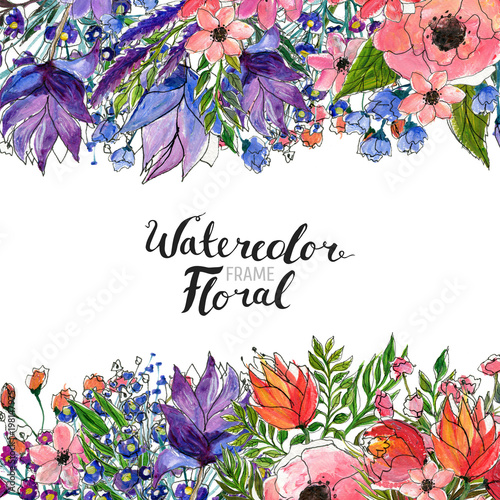 """Watercolor Floral Background. Hand Painted Border Of"