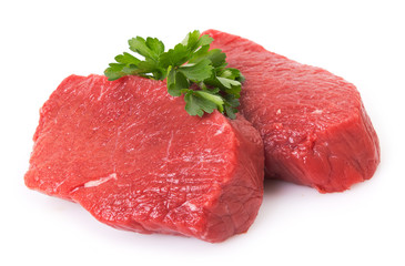 Aluminium Prints Meat Raw beef on white background