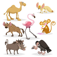 African animals cartoon set. Dromedary camel, vulture, flamingo, hyena, warthog, monkey with banana and african fox fennec. Zoo wildlife collection. Vector illustrations isolated on white background.