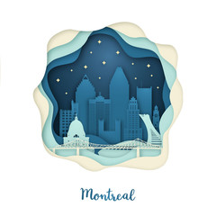 Paper art of Montreal. Origami concept. Night city with stars. Vector illustration.