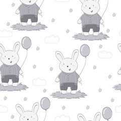Hand drawn vector pattern of cute rabbit and balloon