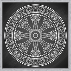 Dharma Wheel, Dharmachakra. Symbol of Buddha's teachings on the path to enlightenment, liberation from the karmic rebirth in samsara. Tattoo design. Chalk on a blackboard imitation. EPS10 vector
