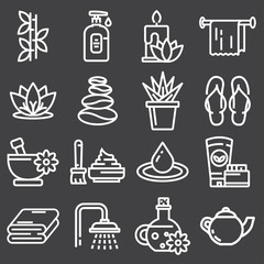 Outline web icon set - Spa and Beauty
