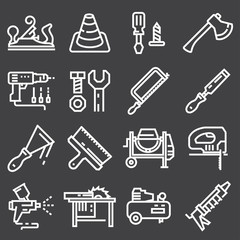 Thin line Construction tools icons set