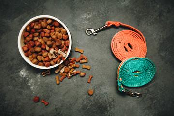 Dry pet food in bowl