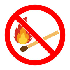 No fire, No open flame sign. No Fire sign. Prohibits danger open flame icon. silhouette matchstick in red round isolated on white background. Forbidden warning flame symbol. illustration