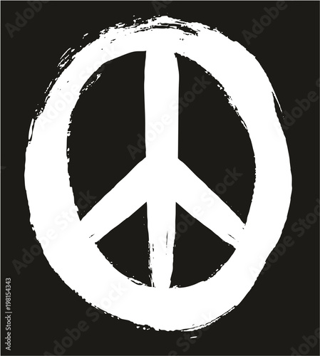 Peace Symbol Vector Hand Painted With Rounded Brush Set 01 Stock