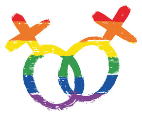 LGBTQ Lesbian Symbol Vector Hand Painted with Rounded Brush