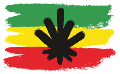 Rasta Man Flag Vector Hand Painted with Rounded Brush