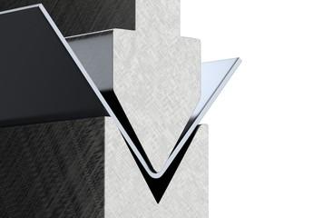 bending metal sheet by sheet bending machine 3d render