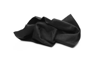 Black glass cleaning cloth, napkin isolated on white background