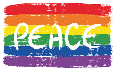 LGBTQ Peace Letters Flag Vector Hand Painted with Rounded Brush