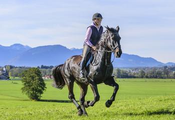 Poster Horseback riding Ausritt am Alpenrand
