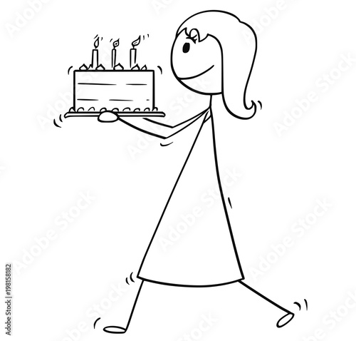 Cartoon stick man drawing conceptual illustration of woman mother