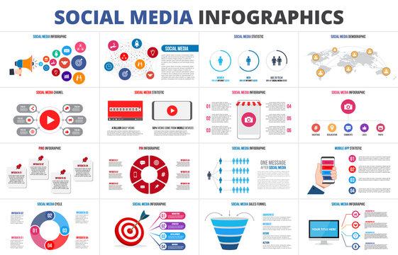 Vector sales funnel, statistic, map, online video chanel and pins. Social media infographic set. Presentation slides.