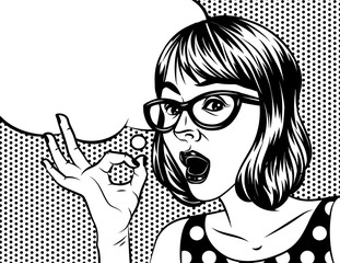 Pretty girl vector cartoon illustration in pop art style. A woman with glasses holds a hand and showing ok sign. A Woman's face with a speech bubble over halftone background
