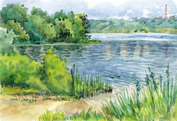 Watercolor hand-drawn summer landscape