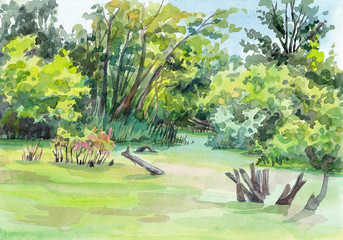 Watercolor hand-drawn landscape