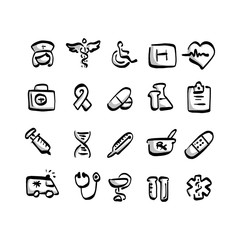 freehand medical icon set with gray shadow vector illustration sketch hand drawn with black lines isolated on white background