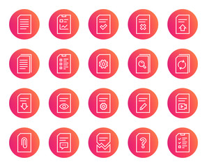 Document Management line icons. Set of Report, Checklist and Copy signs. Download file, Remove and Attach clip symbols. Search, Edit and Corrupt file. Trendy gradient circle buttons. Vector