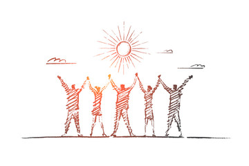 Vector hand drawn team concept sketch. Team of five people standing backwards and holding each others hands raised. Lettering Team concept Wall mural