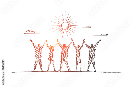 Vector hand drawn team concept sketch  Team of five people standing