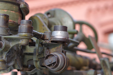 Fragment of an artillery gun sight close-up