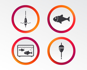 Fishing icons. Fish with fishermen hook sign. Float bobber symbol. Aquarium icon. Infographic design buttons. Circle templates. Vector