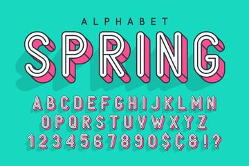 Fotobehang Pop Art Condensed display font popart design, alphabet, letters and numb