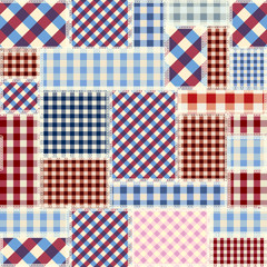 Seamless vector pattern. Patchwork of classic plaid fabric patterns. Vector image.