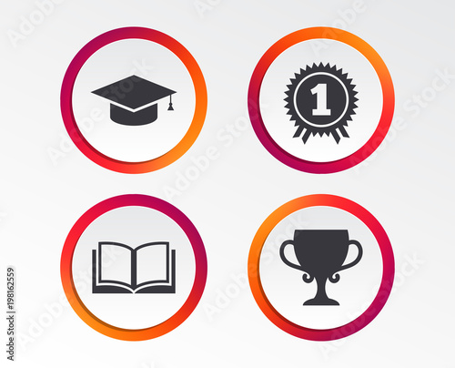 Graduation Icons. Graduation Student Cap Sign. Education Book Symbol. First  Place Award.