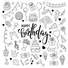 big set of hand drawn doodle cartoon objects and symbols on the birthday party. Hand drawn brush pen lettering Happy birthday. design for holiday greeting card and invitation of baby shower, birthday