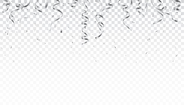 Silver confetti and ribbon isolated on transparent background