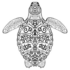 Stylized vector decoration zentangle turtle