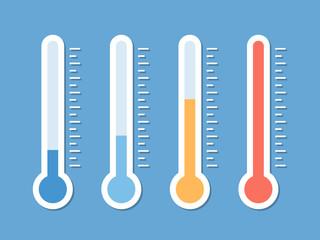 Obraz Blue, yellow and red flat thermometer indicators illustration - fototapety do salonu