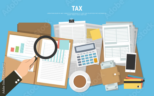 tax calculation budget calculation accounting paperwork concept