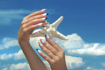 Wall Mural - Морской дизайн ногтей.