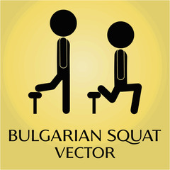 Bulgarian squat exercise vector pictogram.
