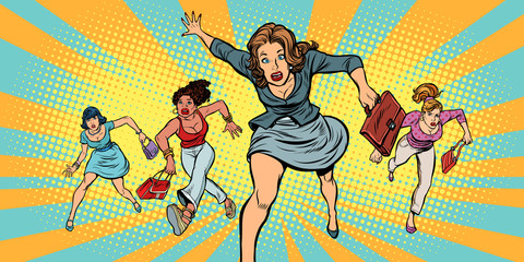 women running in panic for sale