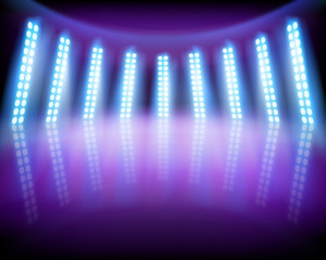 Lighting effects on the stage. Vector illustration.