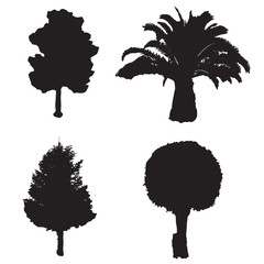 four silhouette trees vector set