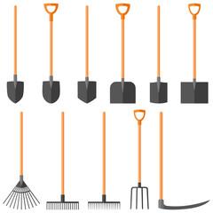 Set of garden tools (shovel, rake, fork, scythe), vector illustration