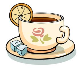 mug of tea on a saucer with lemon. Tea cup icon.