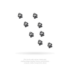 Paw Prints. Logo. Vector Illustration. Isolated vector Illustration. Black on White background. EPS Illustration.