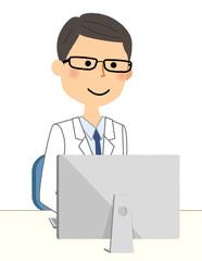 白衣の男性 PC
