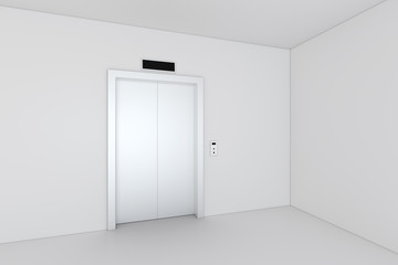 Closed chrome metal office building elevator doors. 3d rendering.