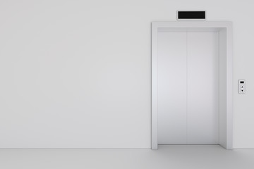 Elevator, metal elevator, waiting closed doors 3d rendering
