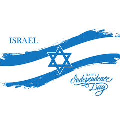 Israel Happy Independence Day greeting card with israeli national flag brush stroke and hand drawn greetings. Vector illustration.