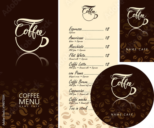 Vector set of design elements for coffee house corporate identity vector set of design elements for coffee house corporate identity for the cafe menu reheart Image collections
